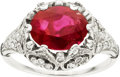 Estate Jewelry:Rings, Edwardian Burmese Ruby, Diamond, Platinum Ring. ...