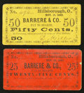 Obsoletes By State:Ohio, Hillsborough, OH- D. Miller at Barrere & Co. 25¢; 50¢ Nov. 15,1862 Wolka 1301-05; -07. ... (Total: 2 notes)