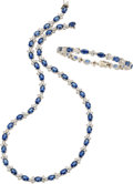 Estate Jewelry:Suites, Sapphire, Diamond, White Gold Jewelry Suite. ... (Total: 2 Items)