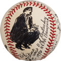 Baseball Collectibles:Balls, 1996 Rick Pitino Original Baseball Artwork by LeRoy Neiman....