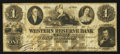 Obsoletes By State:Ohio, Warren, OH- The Western Reserve Bank $1 July 14, 1854 G60 Wolka2741-12. ...
