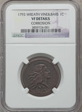 Large Cents, 1793 1C Wreath, Vine and Bars Edge -- Corrosion -- NGC Details. VF.S-8, B-13, R.3....