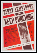 "Boxing Collectibles:Memorabilia, 1939 Henry Armstrong ""Keep Punching"" Mounted Movie Poster...."