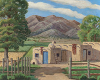 CHARLES H. REYNOLDS (American, 1902-1963) Taos Adobe Houses Oil on canvas 24 x 30 inches (61.0 x