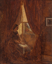 WILLIAM J. HENNESSY (British/American, 1839-1917) By the Window, 1861 oil on canvas 8 x 10 inches