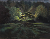 FRANK S. HERMANN (American, 1866-1942) Light in the Forest, circa 1925-30 Oil on paper mounted to bo