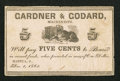 Obsoletes By State:Ohio, Mantua, OH- Gardner & Godard 5¢ Dec. 1, 1862 Wolka 1552-01. ...