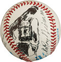 Baseball Collectibles:Balls, 1992 Wilt Chamberlain Original Baseball Artwork by LeRoy Neiman....