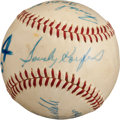 Baseball Collectibles:Balls, 1963 World Series Game Four Used Baseball Signed by Koufax, Drysdale....