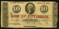 Obsoletes By State:Ohio, Pittsburgh, OH- George Poe at the Bank of Pittsburgh 10¢ FadedWolka 2213-02. ...