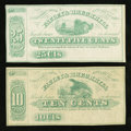 Obsoletes By State:Ohio, Uniontown, OH- Fauley & Brechbill 10¢, 25¢ Jan. 1, 1863 Wolka2611-02, -03 Remainders. ... (Total: 2 notes)