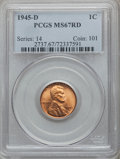 Lincoln Cents: , 1945-D 1C MS67 Red PCGS. PCGS Population (240/0). NGC Census:(891/0). Mintage: 266,268,000. Numismedia Wsl. Price for prob...