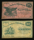 Obsoletes By State:Ohio, Unity, OH- D. & J. Thoman 10¢ Remainder; 25¢ 1863 Wolka2623-02; -03. ... (Total: 2 notes)