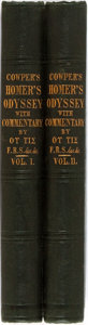 Books:Literature Pre-1900, William Cowper, translator. Homer. The Odyssey. London:Harvey and Darton, 1843. Two octavo volumes, uniformly bound...(Total: 2 Items)