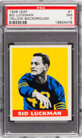 Football Cards:Singles (Pre-1950), 1948 Leaf Sid Luckman, Yellow Background #1 PSA NM 7....