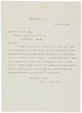 """Autographs:U.S. Presidents, Grover Cleveland Typed Letter Signed. One page, 7.25"""" x 10"""",Princeton [New Jersey], June 24, 1905, to Charles T. Scott decl..."""