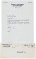 "Autographs:U.S. Presidents, Gerald Ford Typed Letter Signed ""Jerry Ford."" One page, 8"" x10.5"", on Congress of the United States letterhead, Washing..."