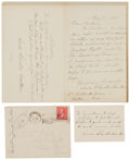 Autographs:Authors, Poet Louise Chandler Moulton: Group of Two Autograph Letters andTwo Poems. Chandler (1835-1908) was an American poet. Inclu...