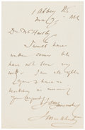 "Autographs:Artists, John MacWhirter Autograph Letter Signed. One page with integralblank, 3.75"" x 6"", ""1 Abbey Rd [London],"" n.d.[circa..."