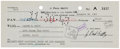 """Autographs:Celebrities, J. Paul Getty Check Signed. 8.25"""" x 3.25"""". Drawn on the SecurityFirst National Bank of Los Angeles to Walter E. Smith, Nove..."""
