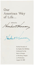 "Autographs:U.S. Presidents, Herbert Hoover Printed Address Signed. Ten pages, 3.75"" x 7.25"".Titled ""This Crisis in American Life,"" the address is b..."
