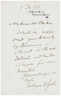 "Autographs:Non-American, Sir William Withey Gull, 1st Baronet of Brook Street, AutographLetter Signed. One page with integral blank, 4.5"" x 7"", Lond..."