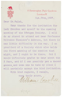 "William Crookes Typed Letter Signed. One page, 4"" x 6.25"", London, October 25, 1897, to a Dr. Walsh regarding..."