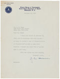 "Autographs:Celebrities, J. Edgar Hoover Typed Letter Signed. One page, 7"" x 9.5"", on FBI letterhead, Washington, February 28, 1942, to J. L. Casey t..."