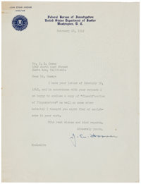 "J. Edgar Hoover Typed Letter Signed. One page, 7"" x 9.5"", on FBI letterhead, Washington, February 28, 1942, to..."