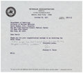 """Autographs:Celebrities, Rosalyn S. Yalow Typed Letter Signed """"Ros"""" with holographicnotation. One page, 8"""" x 7"""", on Veterans Administration Hosp..."""
