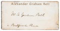 "Autographs:Inventors, Alexander Graham Bell Signature. Found on a 3"" x 1.5"" Alexander Graham Bell calling card with ""2 Bulfinch Place"" written bel..."