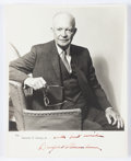 "Autographs:U.S. Presidents, Dwight D. Eisenhower Inscribed Photograph Signed. Ike is seen in this 8"" x 10"", sepia toned silver print photograph sitting ..."