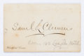 """Miscellaneous:Ephemera, [Mark Twain]. Samuel Clemens Calling Card. 3.25"""" x 2"""" bearing aprinted signature. Holographic notation in an unknown hand r..."""