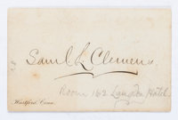 """[Mark Twain]. Samuel Clemens Calling Card. 3.25"""" x 2"""" bearing a printed signature. Holographic notation in an..."""