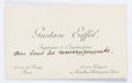 """Miscellaneous:Ephemera, Gustave Eiffel Calling Card. Measuring 3.75"""" x 2.25"""", with aholographic notation in French in an unknown hand. Eiffel (1832..."""