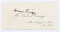 "Miscellaneous:Ephemera, Andrew Carnegie Calling Card. Measuring 3"" x 1.5"", with his namewritten in an unknown hand. Carnegie (1835-1919) was a Scot..."
