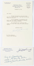 """Autographs:Statesmen, John W. McCormack Typed Letter Signed. One page, 6"""" x 9"""", on TheSpeaker's Rooms U.S. House of Representatives letterhead, W..."""