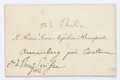 "Miscellaneous:Ephemera, [Napoleon III]. Prince Louis Napoleon Bonaparte Calling Card. 3"" x2"". Holographic notations in French are in an unknown han..."