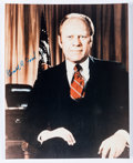 """Autographs:U.S. Presidents, Gerald Ford Photograph Signed. The president is seen in this 8"""" x10"""" color photograph sitting with his hand on his knee. To..."""