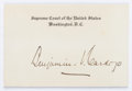 Autographs:Statesmen, Supreme Court Justice Benjamin N. Cardozo Card Signed. Cardozo(1870-1938), who served on the U.S. Supreme Court from 1932 u...