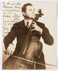 Autographs:Artists, Cellist Joseph Schuster Inscribed Photograph Signed. A beautiful,sepia toned photograph of renowned Russian cellist Joseph ...