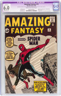 Silver Age (1956-1969):Superhero, Amazing Fantasy #15 (Marvel, 1962) CGC Apparent FN 6.0 Moderate (P)Cream to off-white pages....