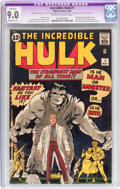 Silver Age (1956-1969):Superhero, The Incredible Hulk #1 (Marvel, 1962) CGC Apparent VF/NM 9.0Moderate (P) Off-white to white pages....