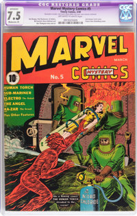 Marvel Mystery Comics #5 (Timely, 1940) CGC Apparent VF- 7.5 Moderate (P) Off-white to white pages