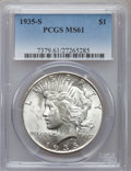 Peace Dollars: , 1935-S $1 MS61 PCGS. PCGS Population (51/3906). NGC Census:(172/2441). Mintage: 1,964,000. Numismedia Wsl. Price for probl...