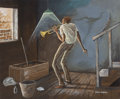 Fine Art - Painting, American:Contemporary   (1950 to present)  , ERNIE BARNES (American, 1938-2009). Trumpet Solo. Oil oncanvas. 20 x 24 inches (50.8 x 61.0 cm). Signed lower right:...