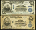 National Bank Notes:Maine, Portland, ME - $5 1902 Plain Back Fr. 598 The First NB Ch. # 221 and $10 1902 Plain Back Fr. 630 The Chapman NB Ch. ... (Total: 2 notes)