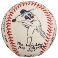 Baseball Collectibles:Balls, 2002 Opening Day at Shea Stadium, Mo Vaughn Original Baseball Artwork by LeRoy Neiman.. ...