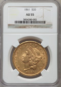 Liberty Double Eagles: , 1861 $20 AU55 NGC. NGC Census: (575/1035). PCGS Population(264/479). Mintage: 2,976,453. Numismedia Wsl. Price for problem...