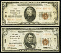 National Bank Notes:Maine, Portland, ME - $5 1929 Ty. 2 The Canal NB Ch. # 941 and $20 1929 Ty. 2 The First NB Ch. # 13716. ... (Total: 2 notes)